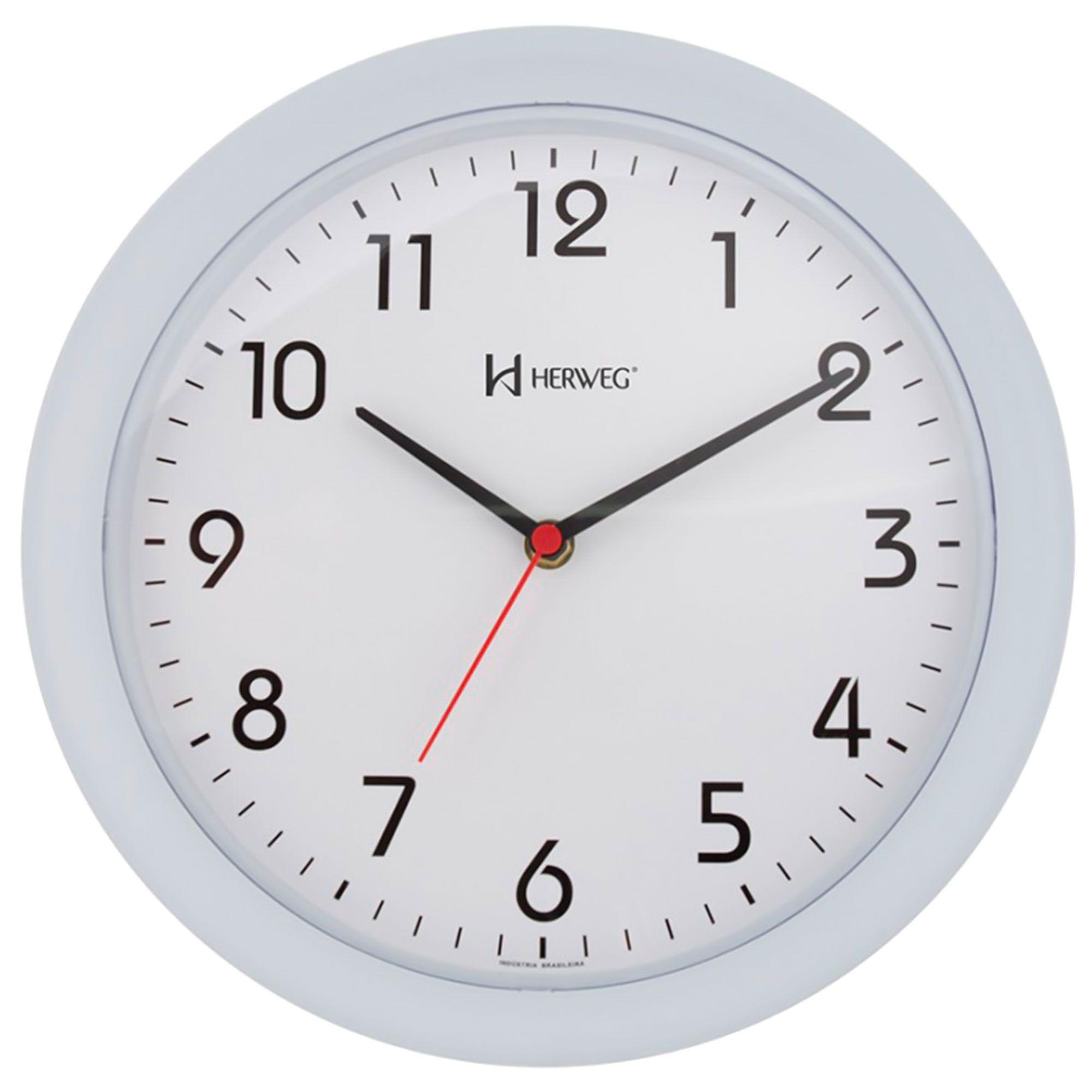 Relógio de Parede Analógico Herweg 6634 132 Branco Fosco
