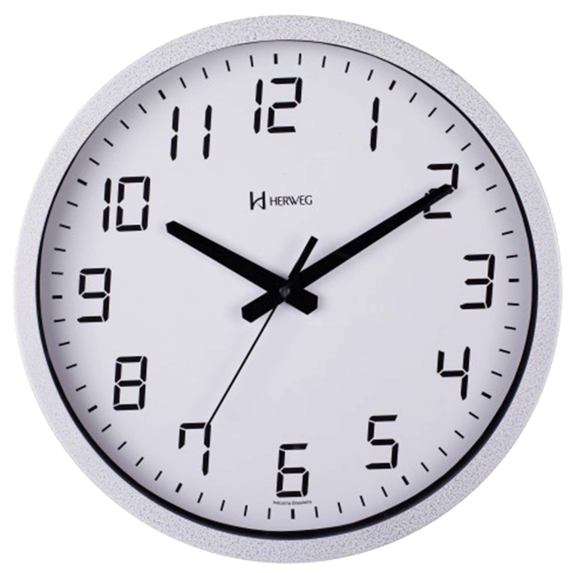 Relógio de Parede Analógico Herweg 6722 064 Branco Craquelado