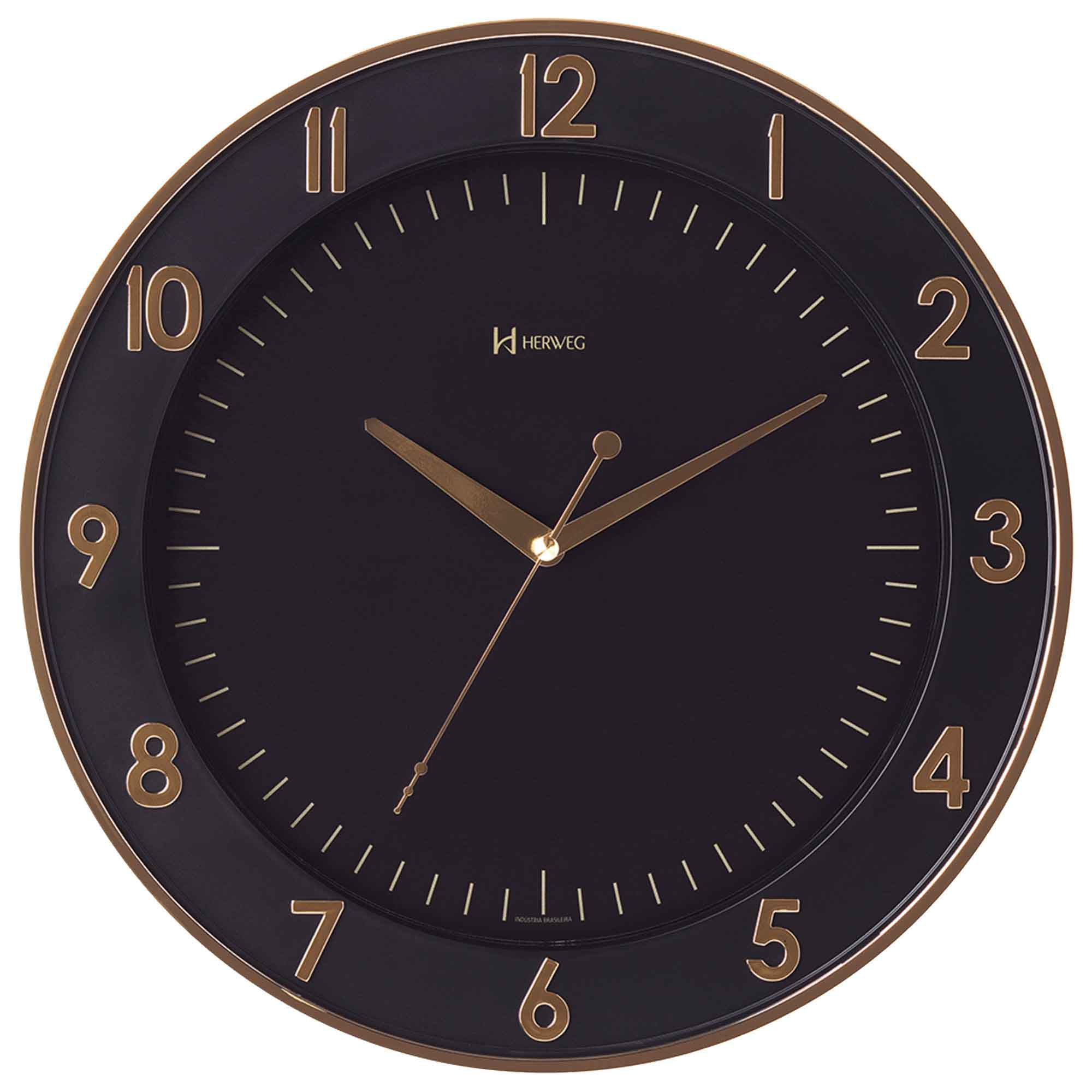 Relógio de Parede Analógico Herweg 6803 029 Dourado Claro