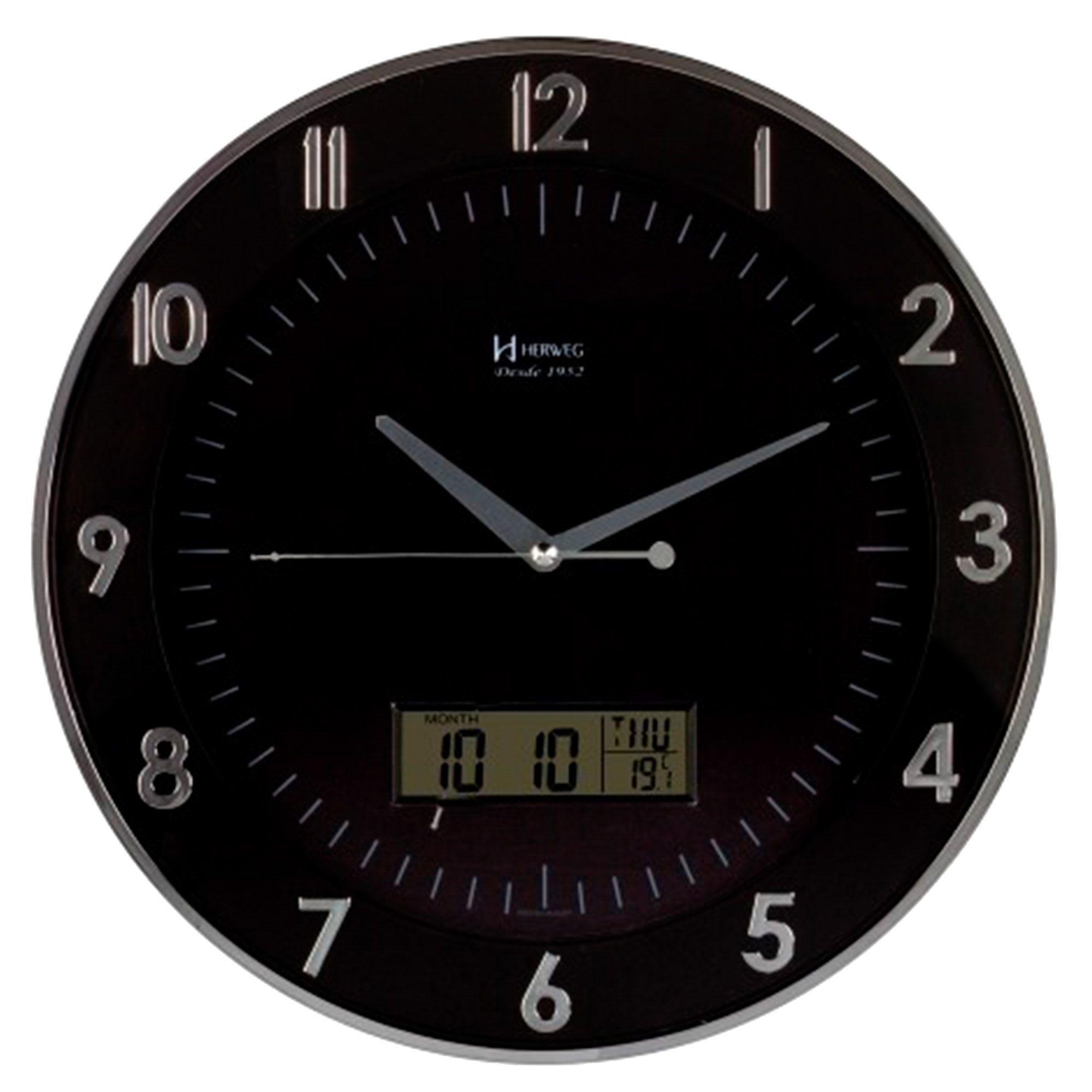 Relógio de Parede Anadigi Herweg 6804 028 Cromado