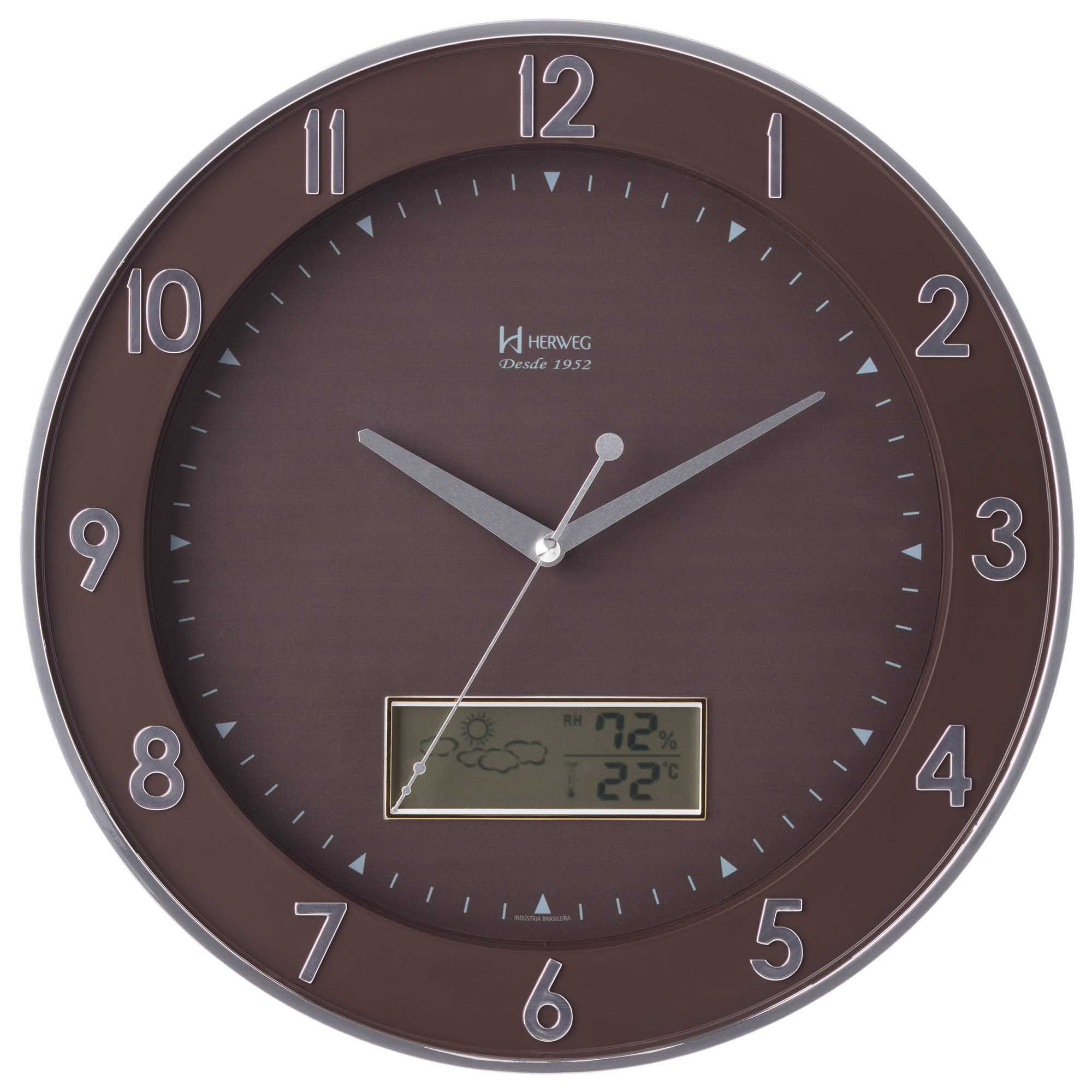 Relógio de Parede Anadigi Herweg 6808 028 Cromado