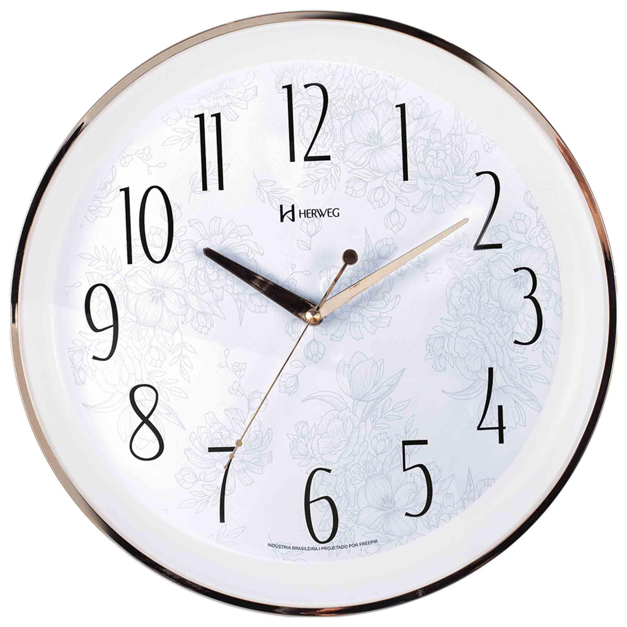 Relógio de Parede Analógico Herweg 6810 029 Dourado Claro