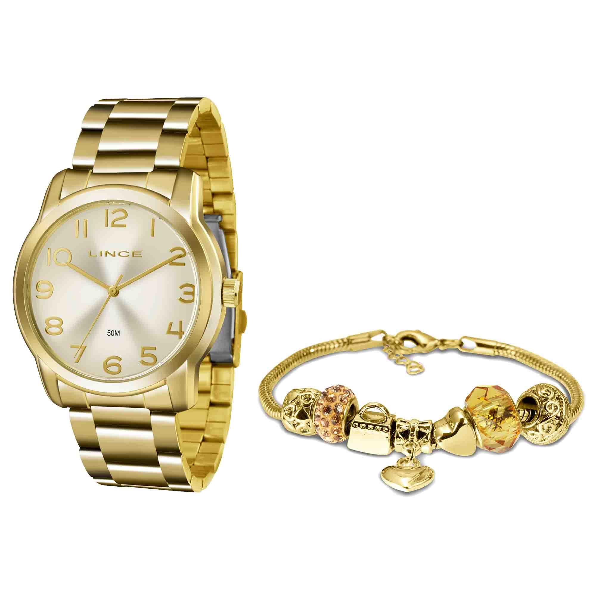 Relógio Feminino Lince LRG4550L KN49S2KX Kit com Pulseira Pandora