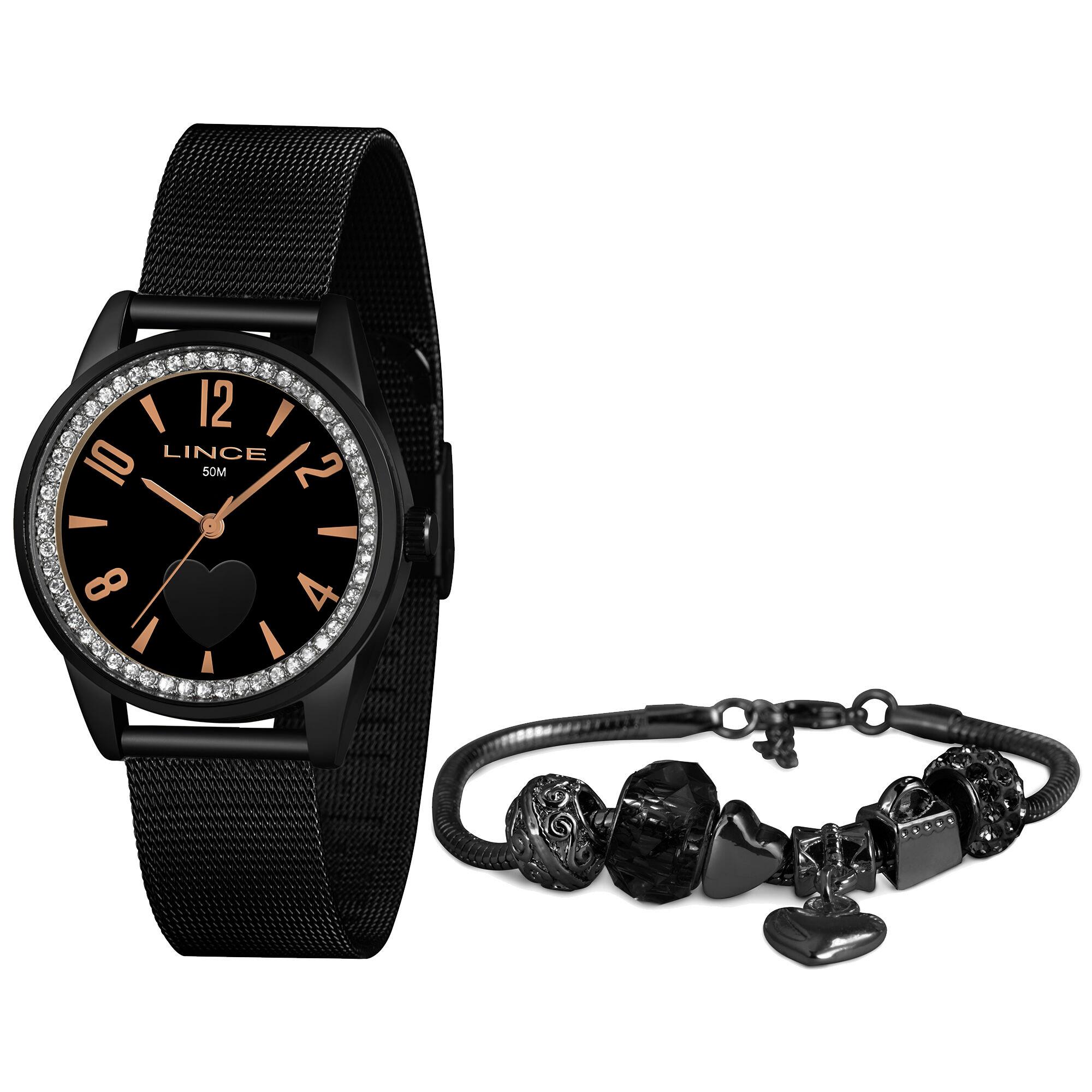 Relógio Feminino Lince LRNJ106L KX72P2PX Kit com Pulseira Pandora