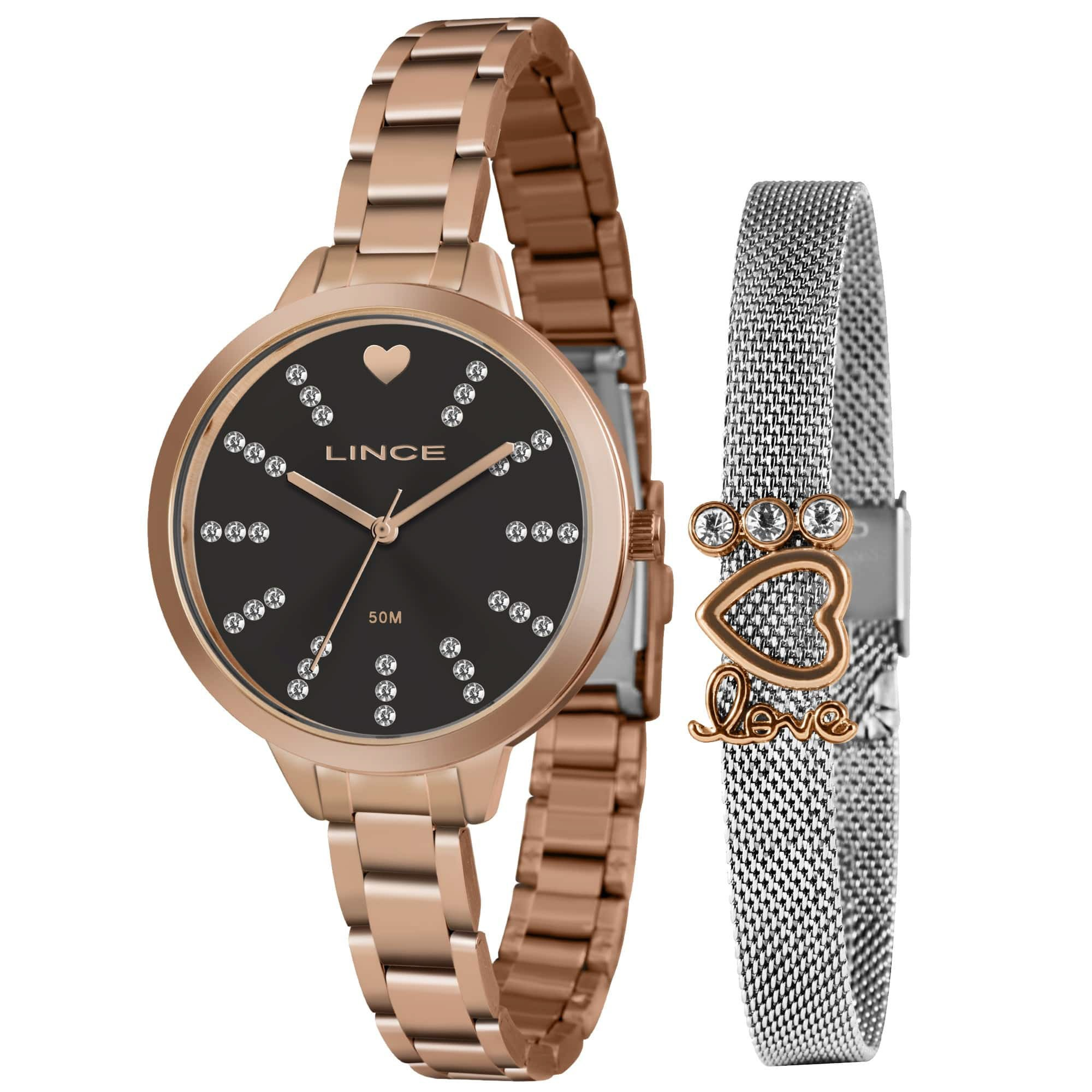 Relógio Feminino Lince LRR4667L KY21P1RX Kit com Pulseira