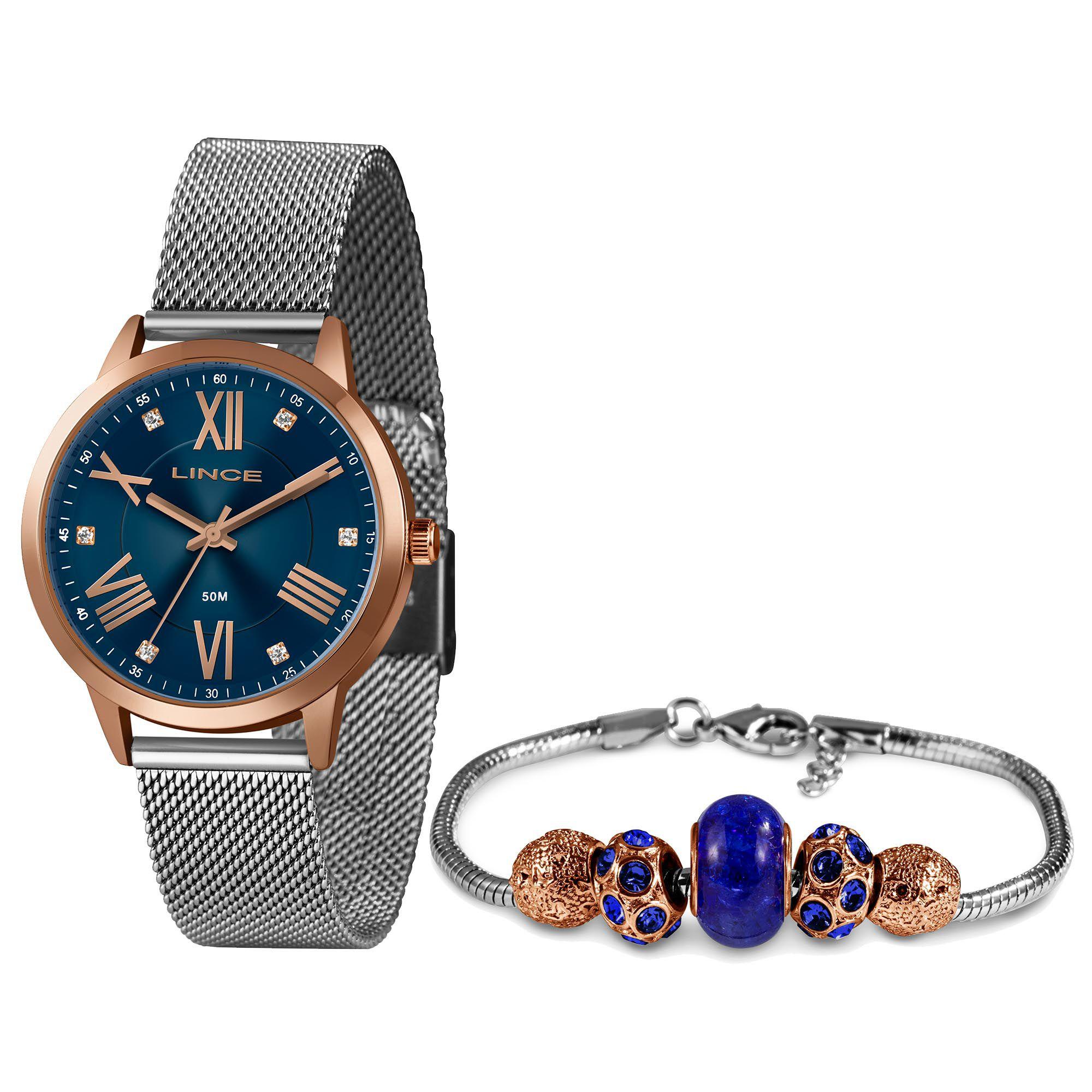 Relógio Feminino Lince LRT4651L KX59D3SX Kit com Pulseira