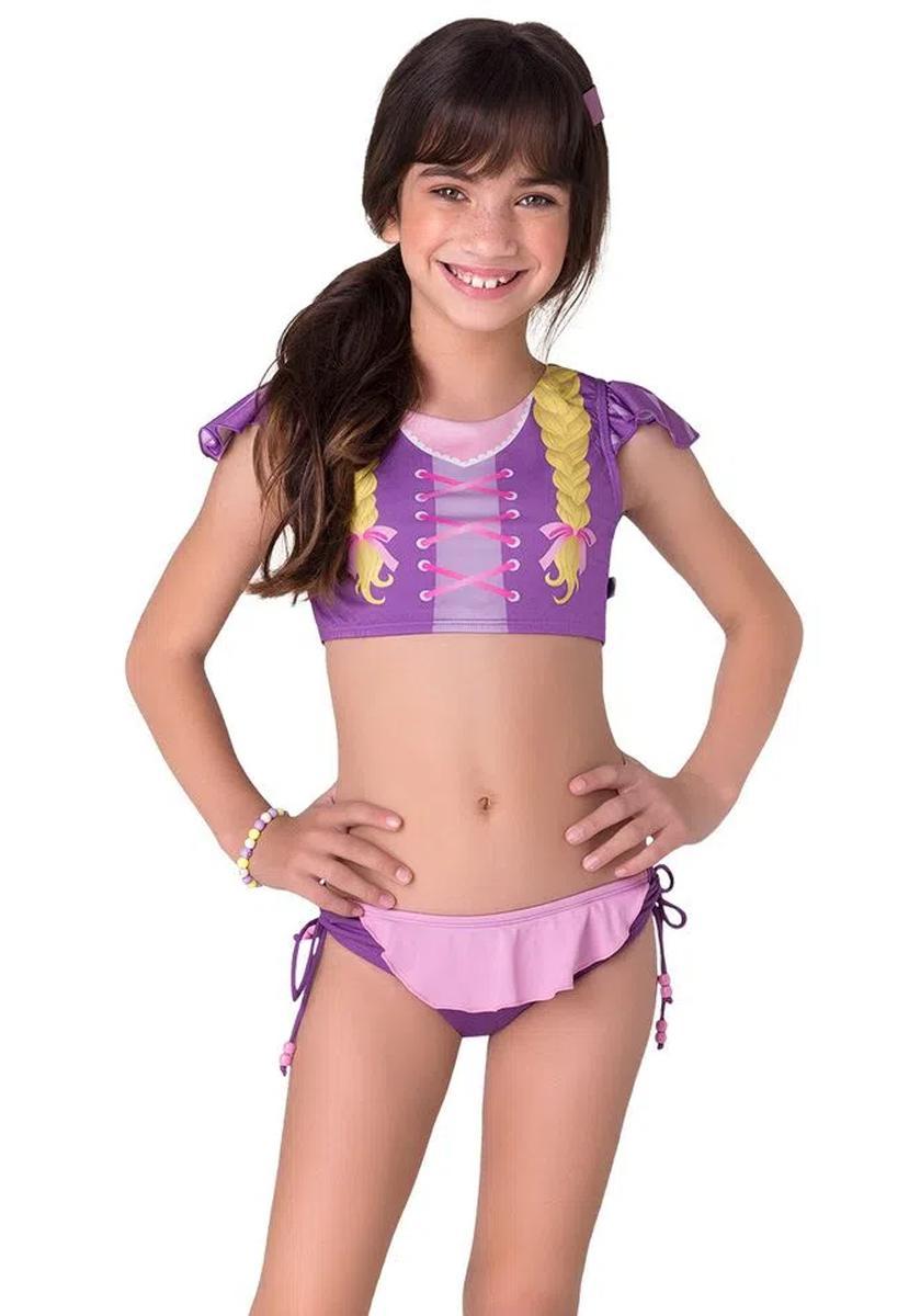 Biquini  infantil princesa com tranças