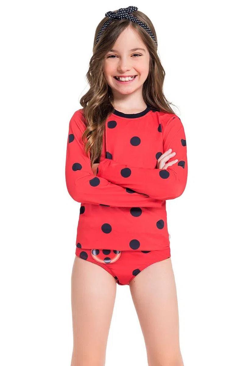 Blusa- calcinha  Joaninha infantil proteção UV