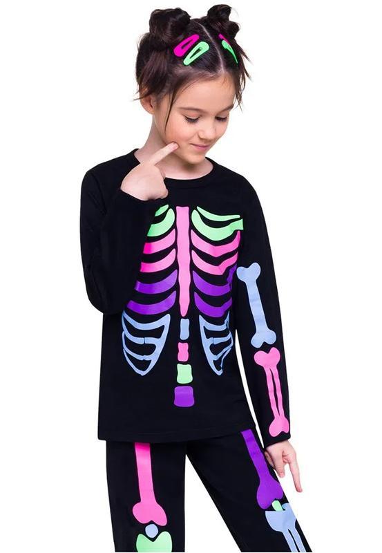 Pijama Fantasia Infantil  Esqueleto Brilha no Escuro