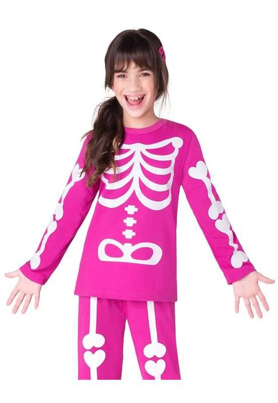 Pijama Fantasia Infantil Esqueleto Pink  Brilha no Escuro