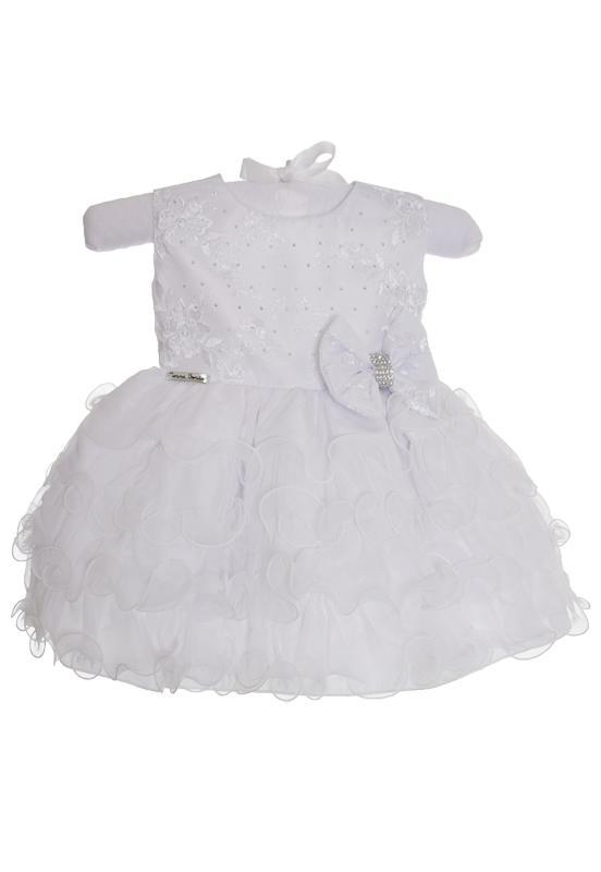 Vestido Branco com Babado Luxo