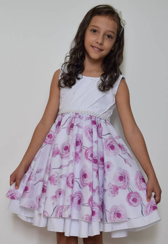 Vestido  Floral Branco/Pink - 8