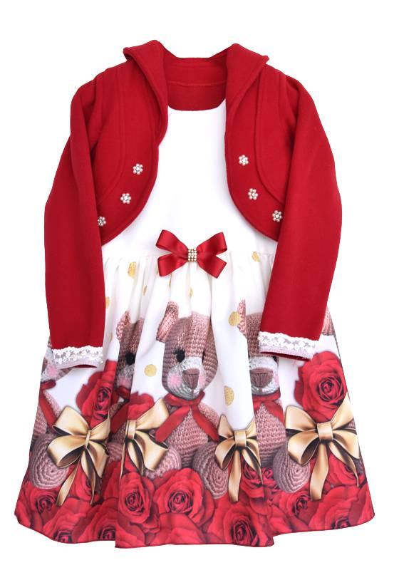 Vestido com Bolero Urso Vermelho