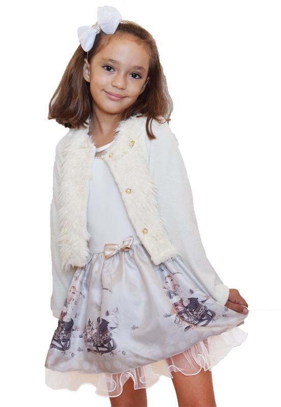 Vestido com Casaco Elegance Marfim 3-4