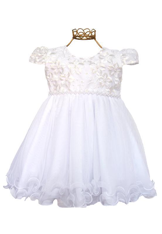 Vestido de batizado branco bebê