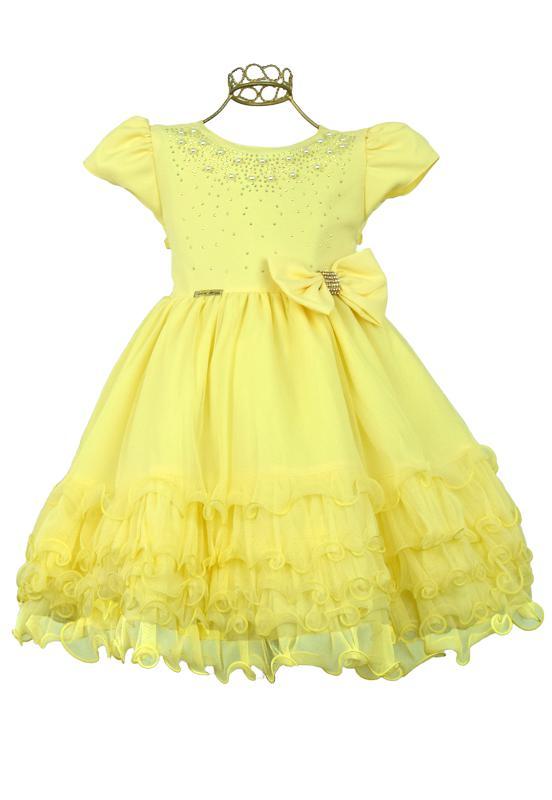 Vestido Festa Infantil Amarelo