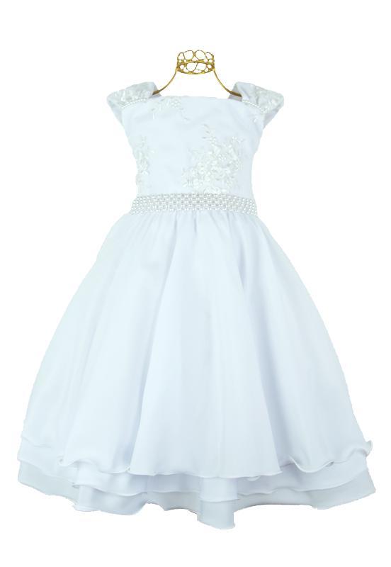 Vestido Festa Infantil Branco - 12