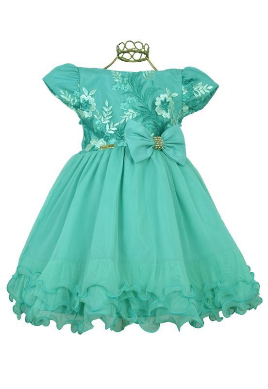 Vestido Festa Infantil Verde Tiffany