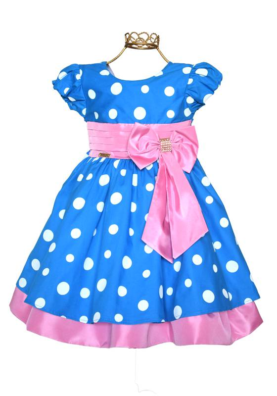 Vestido Poá Azul - Rosa