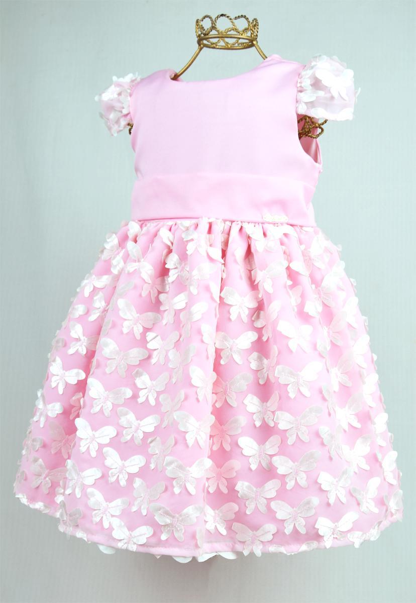 Vestido  Infantil Borboletas Rosa