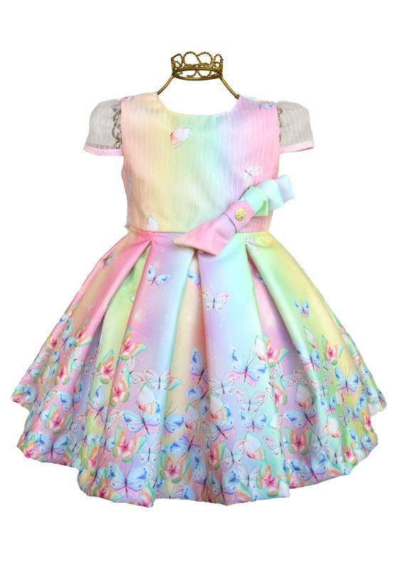 Vestido Infantil Colorido Borboletas