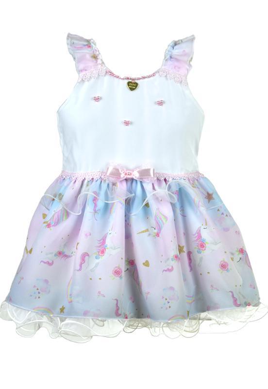 Vestido Infantil Festa Unicórnio Branco
