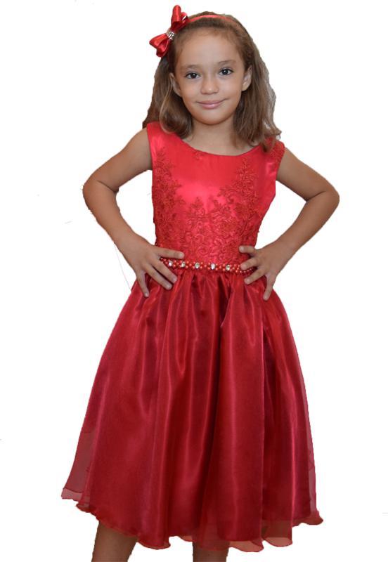 Vestido Infantil Festa Vermelho Luxo - 4 - 8