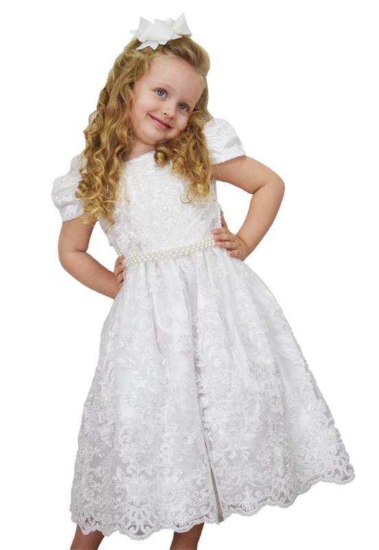 Vestido Infantil Rendado Branco