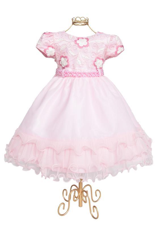 Vestido Infantil Rosa Flor