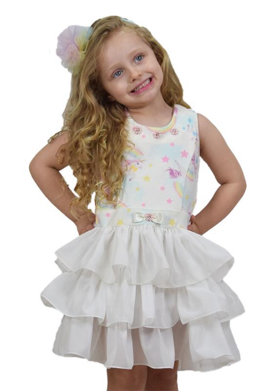 Vestido Infantil Unicórnio Marfim