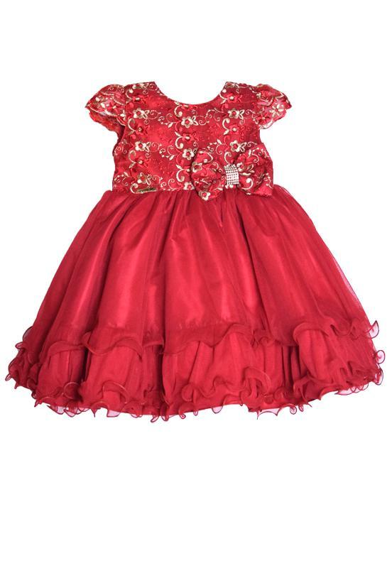 Vestido Infantil Vermelho/Dourado