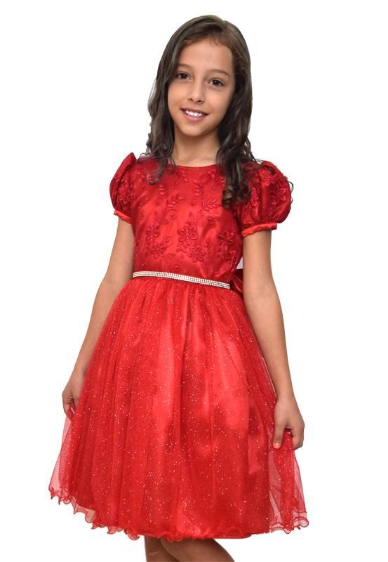 Vestido Infantil Vermelho Festa - 6