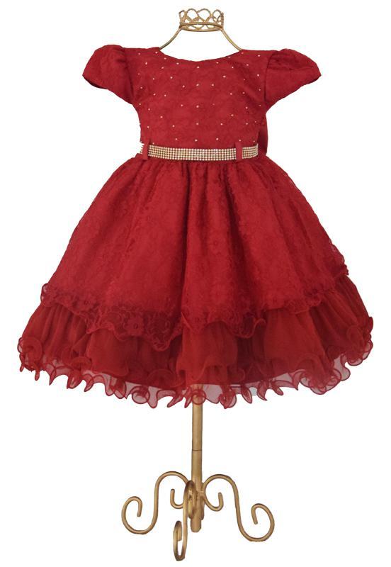 Vestido infantil vermelho festa