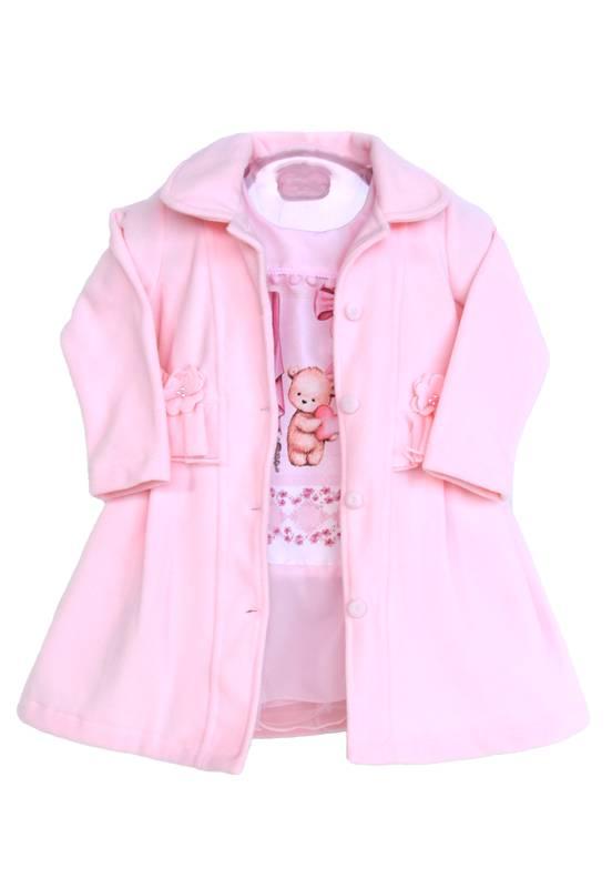 Vestido com Casaco (inverno) Urso Rosa