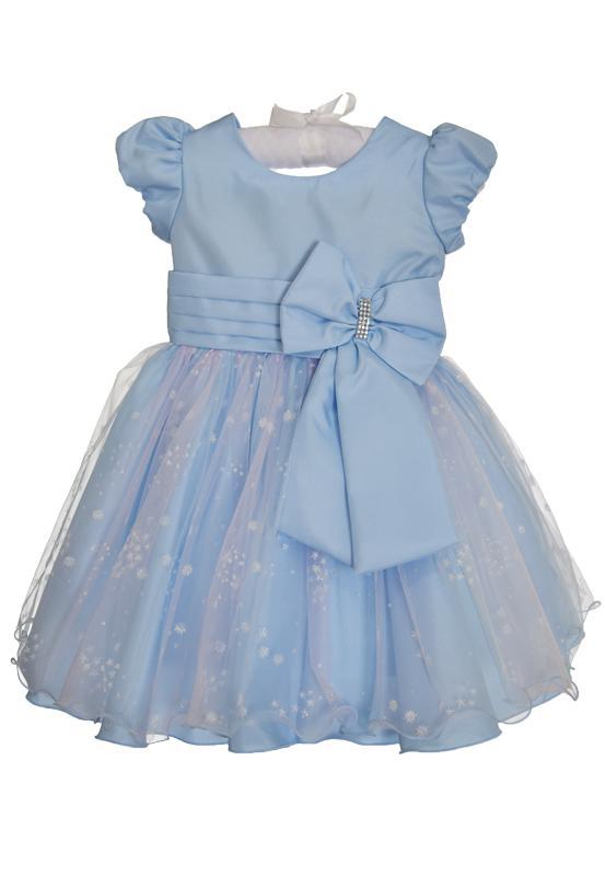 Vestido Princesa Azul com Flocos de Neve (Elsa/Frozen)