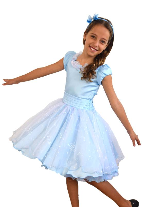 Vestido Princesa Azul com Flocos de Neve (Elsa/Frozen) - 4