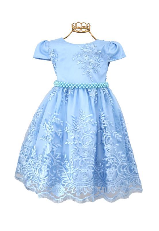 Vestido Rendado Luxo Azul
