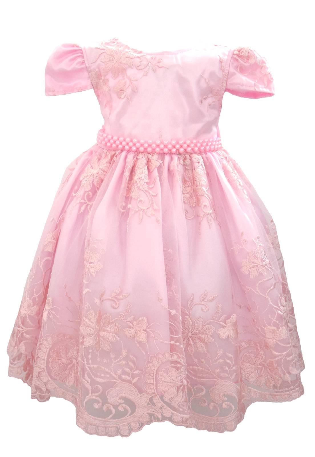 Vestido Rendado Luxo Rosa