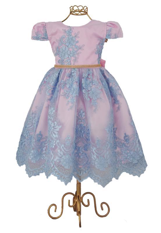 Vestido Rendado Rosa/Azul