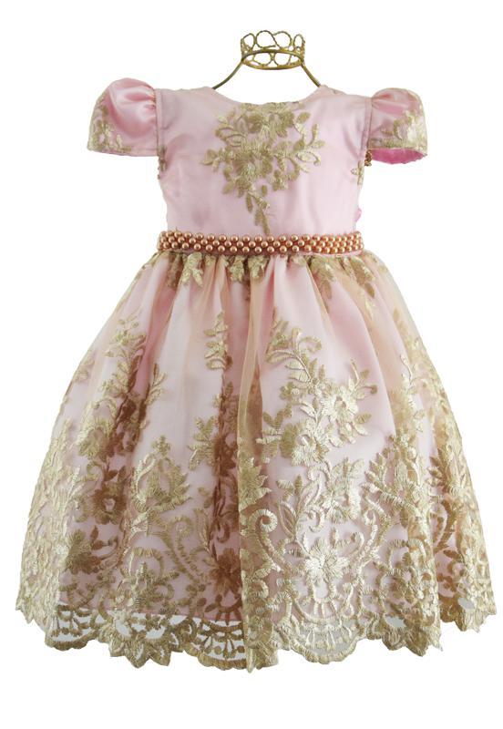 Vestido Rendado Rosa Dourado