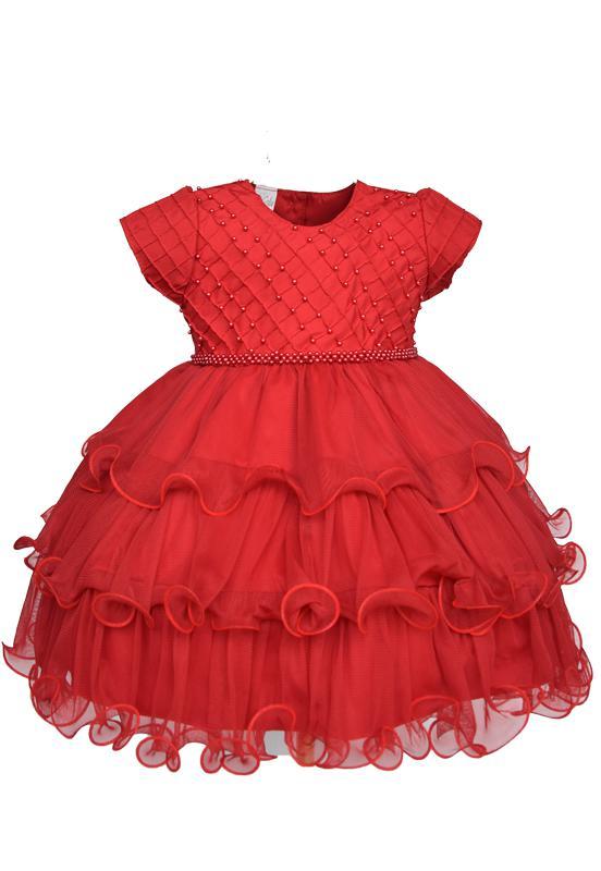 Vestido vermelho babado