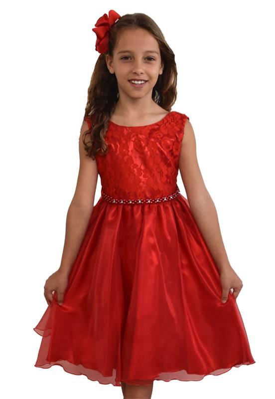 Vestido Vermelho com Cinto de Pérolas e Pedras