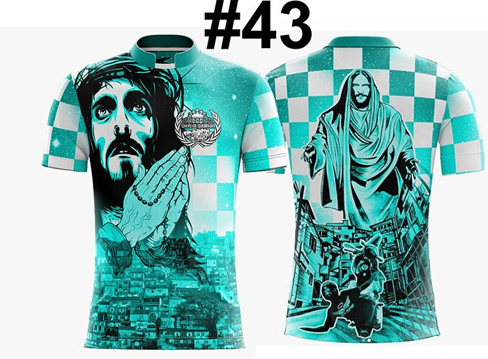 CAMISETA MASCULINA GRAU FAVELA JESUS VERDE #43