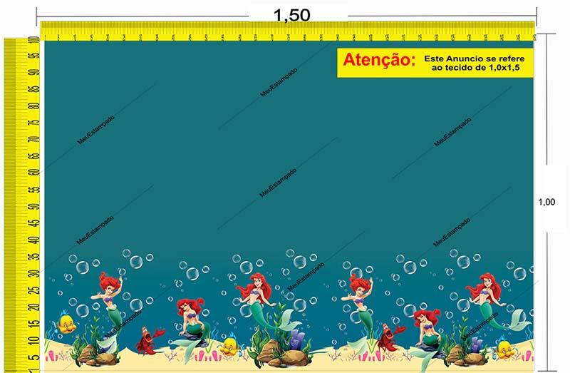 Tecido Temático - A Pequena Sereia: Ariel 1,0x1,5 #196