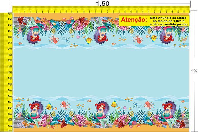 Tecido Temático - A Pequena Sereia: Ariel 1,0x1,5 #81