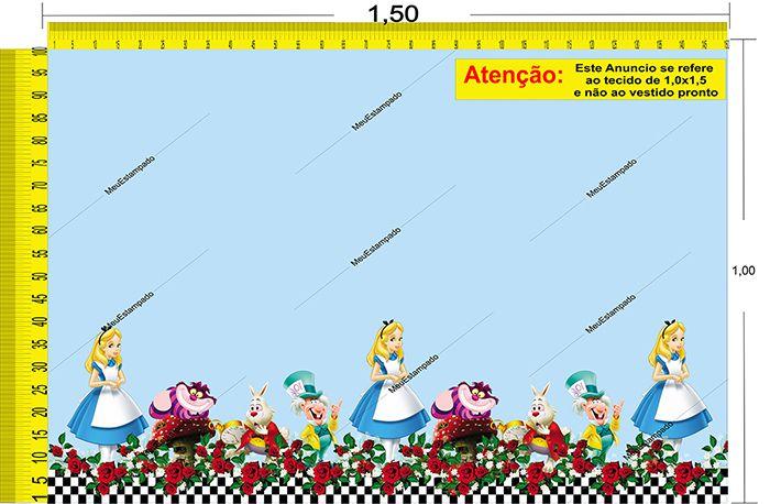 Tecido Temático - Alice no País das Maravilhas 1,0x1,5 #86