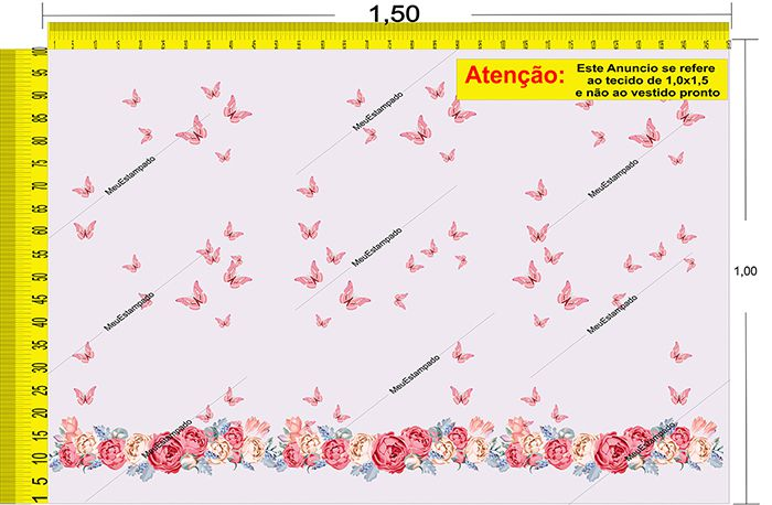 Tecido Temático - Borboletas 1,0x1,5 #07