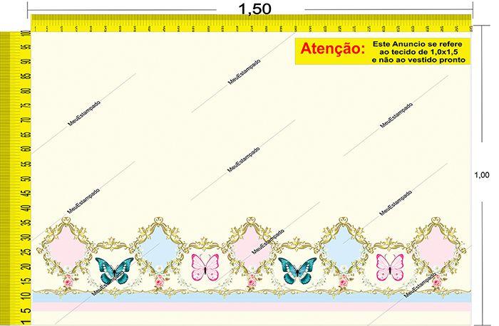 Tecido Temático - Borboletas 1,0x1,5 #09