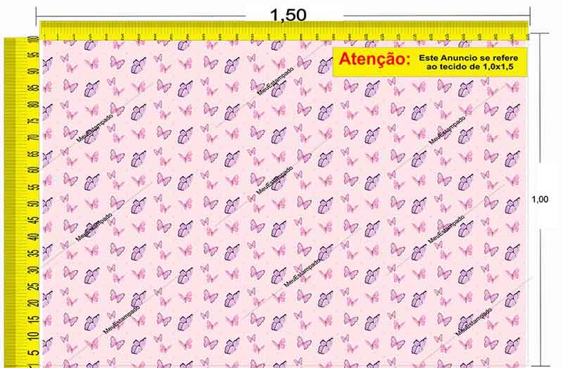 Tecido Temático - Borboletas 1,0x1,5 #150