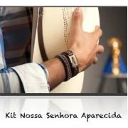 Kit Nossa Senhora Aparecida 2 Pulseiras De Couro Legítimo